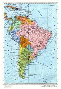 Южная Америка. Политическая карта