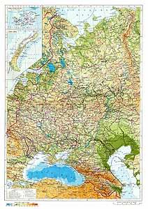 Европейская часть СССР. Физическая карта