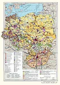 ГДР, Польша, Чехословакия, Венгрия. Экономическая карта