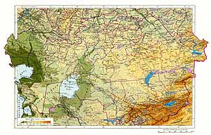 Казахская ССР. Физическая карта