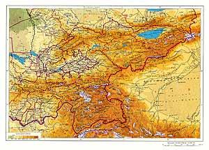 Киргизская ССР, Таджикская ССР. Физическая карта