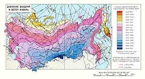 Давление воздуха и ветер. Январь. СССР