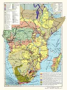 Южная, Экваториальная и Восточная Африка. Экономическая карта