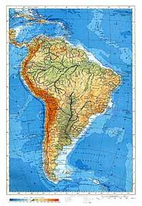 Южная Америка. Физическая карта