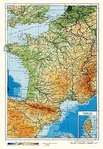 Франция. Физическая карта
