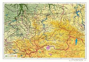 Алтай и Саяны СССР. Физическая карта