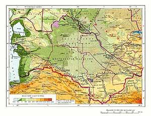 Туркменская ССР. Физическая карта