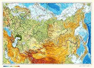 Физическая карта СССР
