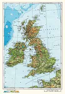 Великобритания, Ирландия. Физическая карта