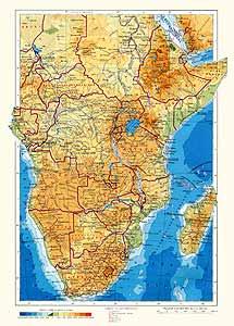 Южная, Экваториальная и Восточная Африка. Физическая карта