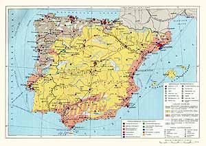 Испания, Португалия. Экономическая карта