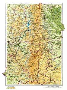Средний и южный Урал СССР. Физическая карта