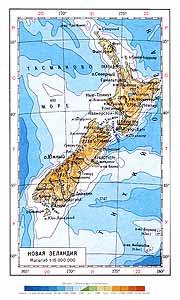 Новая Зеландия. Физическая карта