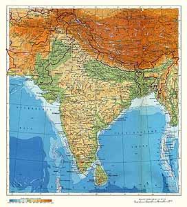 Индия, Пакистан, Бангладеш, Непал, Бутан, Шри-Ланка. Физическая карта