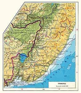 Приморье СССР. Физическая карта