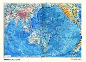 Тихий и Индийский океаны. Физическая карта