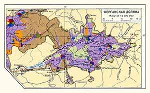 Ферганская долина. Экономическая карта