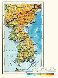 Корея. Физическая карта
