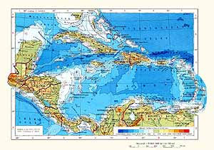 Центральная Америка и Вест-Индия. Физическая карта