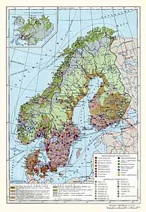 Финляндия, Швеция, Норвегия, Дания, Исландия. Экономическая карта