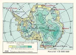 Толщина ледникового покрова Антарктиды