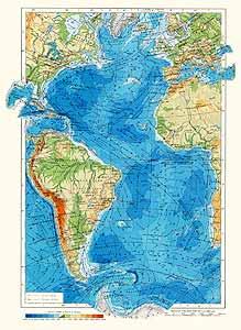 Антлантический океан. Физическая карта