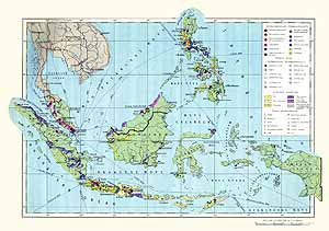 Индонезия, Филиппины, Малайзия, Сингапур. Экономическая карта