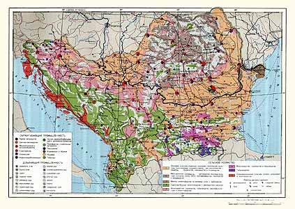 Румыния, Болгария, Югославия, Албания. Экономическая карта