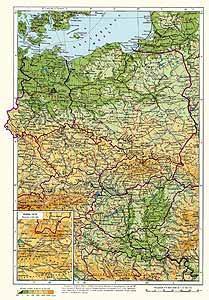 ГДР, Польша, Чехословакия, Венгрия. Физическая карта