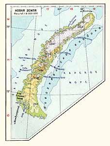Новая Земля. Физическая карта