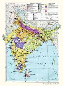Индия, Бангладеш, Непал, Бутан, Шри-Ланка. Экономическая карта