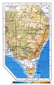 Австралия. Восточная часть. Физическая карта