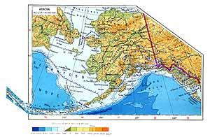 Аляска. Физическая карта