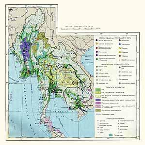 Бирма, Тайланд, Лаос, Кампучия. Экономическая карта