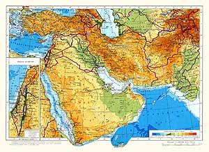 Юго-Западная Азия. Физическая карта