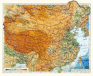 Китай, Монгольская Народная Республика. Физическая карта