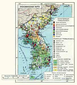 Корея. Экономическая карта