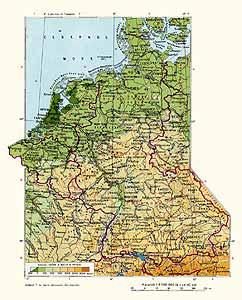 ФРГ, Нидерланды, Бельгия, Люксембург. Физическая карта