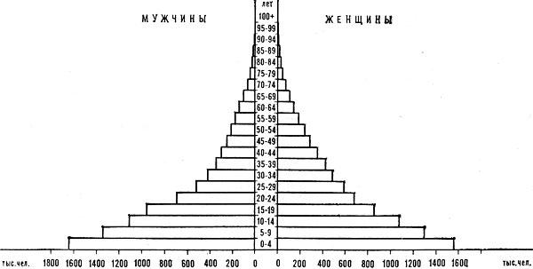 Возрастно-половая пирамида населения Алжира. 1975