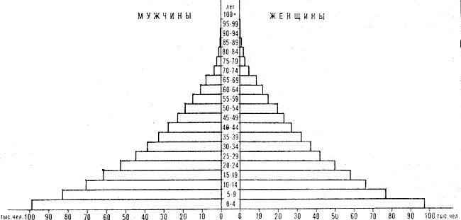 Возрастно-половая пирамида населения Бутана. 1975