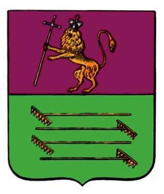 Герб Судогды. Б верхней части щита герб Владимирский. В нижней - в зелёном поле четверо положенный параллельно грабли, в знак изобилия сенокосом' Высочайше утверждён 16.8.1781