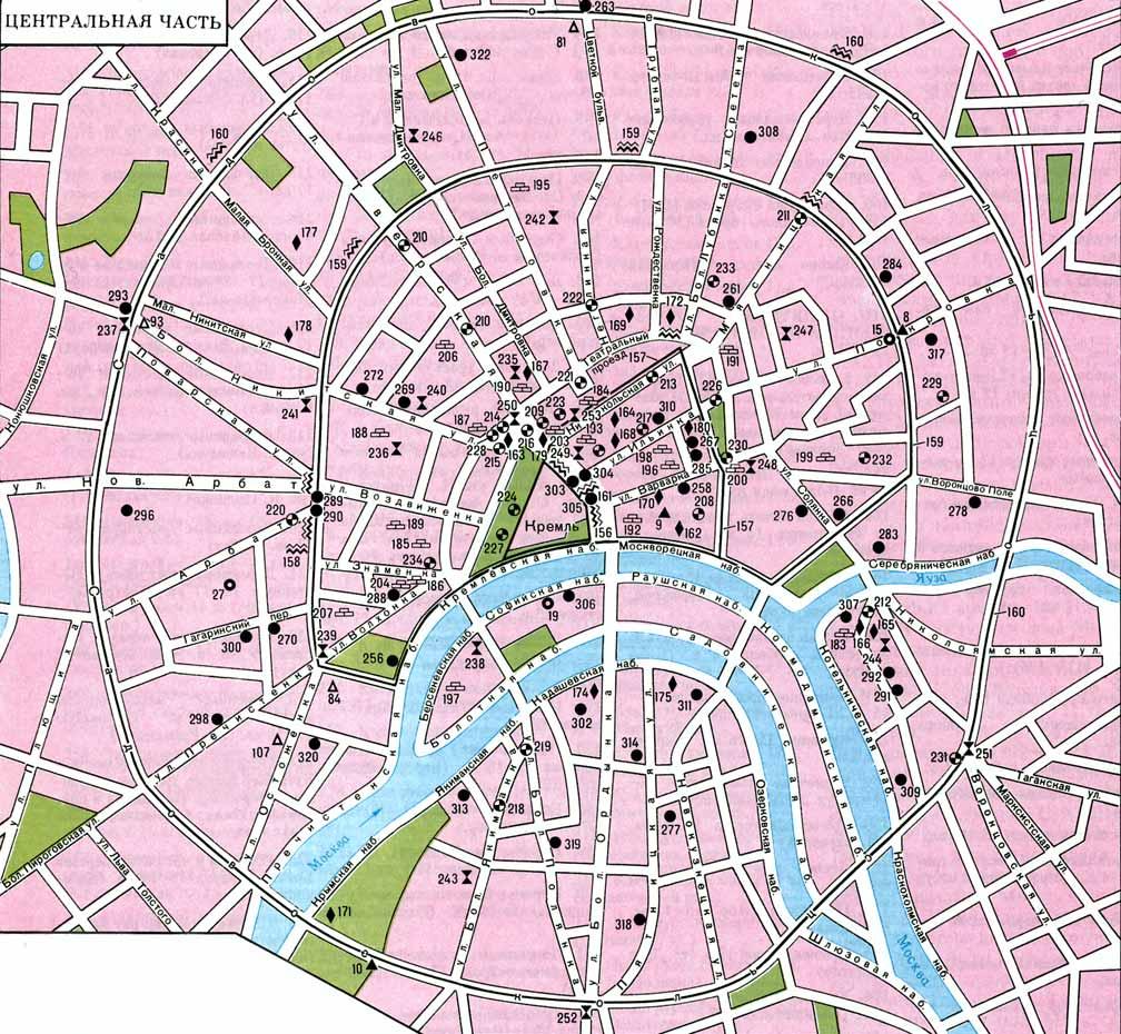 Археологическая карта. Москва, центральная часть.
