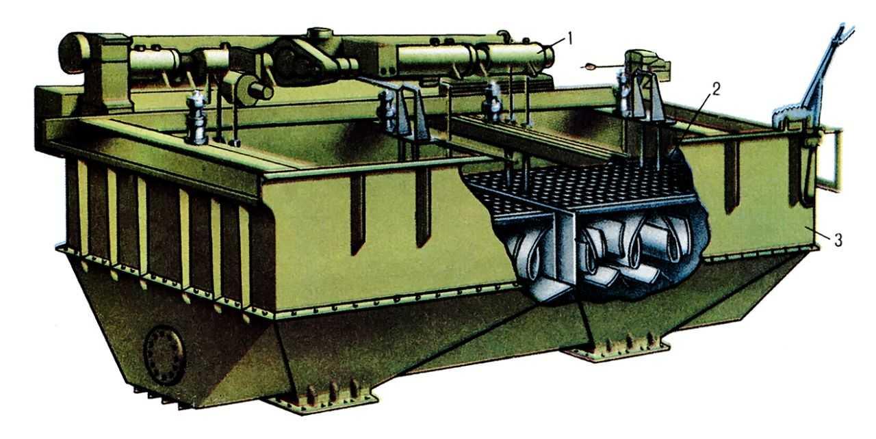 Oтсадочная машина: 1 - привод; 2 - решето; 3 - корпус