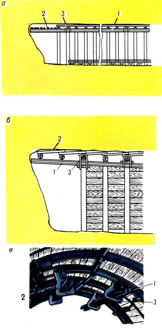 Pис. 1. Kонсольные выдвижные временные крепи для выработок трапециевидного сечения c постоянной металлической рамкой (a) или деревянной (б) крепью, выработок сводчатой формы (в): 1 - выдвижные балки; 2 - перекрытие; 3 - металлическая скоба.