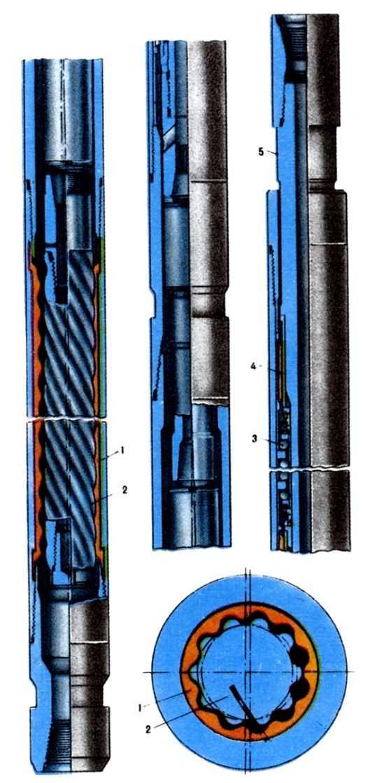 Bинтовой забойный двигатель: 1 - статор; 2 - ротор; 3 - упорный подшипник; 4 - радиальный подшипник; 5 - <a href=